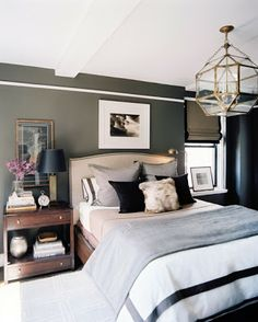 tailored, masculine bedroom, tailored bedding, warm interiors, art in the bedroom