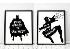 Superhero Superhero, Superhero Bathroom, Spiderman Art, Batman Art, Kids Room Art, Art Kids, Nursery Art, Printable Art, Brother