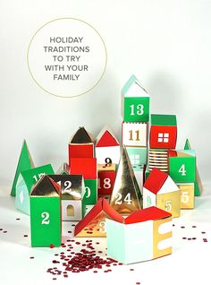 Holidays traditions that add more meaning and more fun into this year's celebrations. Build and fill this charming paper village from The Land of Nod as you countdown to Christmas.