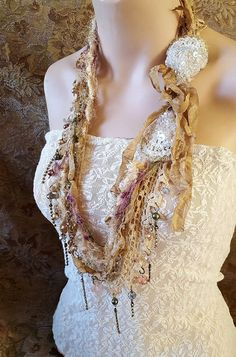 Versailles Bloom Layered necklace shabby chic long by LaCamelot