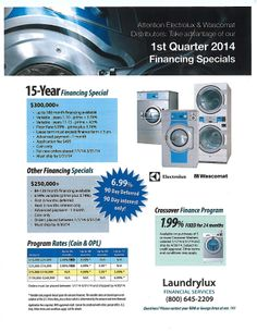 Aggressive and Quarter 2014 financing from Laundrylux Financial Services on Electrolux, Wascomat and Crossover commercial laundry. Laundromat Business, Commercial Laundry, Crossover, Audio Crossover