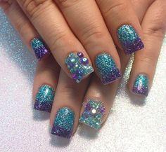 Fancy Nail Art, Fancy Nails, Pretty Nails, Purple Glitter Nails, Blue Nails, Beauty Nails, Hair Beauty, Fabulous Nails, Manicures