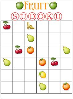 Printable Fruit Sudoku For Kids