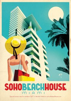 USA - Florida - Miami Soho Beach House Vintage Travel Poster Affiche vintage