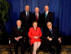 16th Secretaries of State Conference: (l to r) Warren Christopher, Colin Powell, Madeleine Albright, Terence Smith (moderator), James Baker III