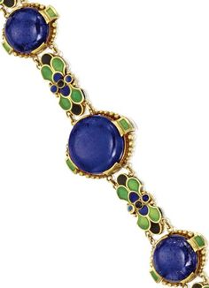 18 KARAT GOLD, LAPIS LAZULI AND ENAMEL BRACELET, TIFFANY  CO., LOUIS COMFORT TIFFANY, CIRCA 1920 Composed of lapis lazuli cabochons measuring approximately 17.4 to 13.5 mm., connected by links of floral design applied with green, blue and black enamel, length 7¼ inches, signed Tiffany  Co.