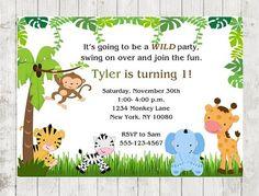 Safari Jungle Birthday Party Invitation  by 4alloccasionfavors