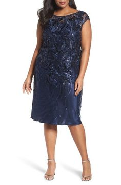 Free shipping and returns on Brianna Embellished Bateau Neck Cocktail Dress (Plus Size) at Nordstrom.com. A cap-sleeve mesh party dress is intricately embellished with light-catching sequins and luminous soutache-inspired embroidery and styled for a universally flattering A-line silhouette in an elegant below-knee length.