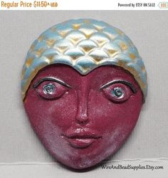 SALE  10% Off  Large Burgundy and Blue Mermaid with