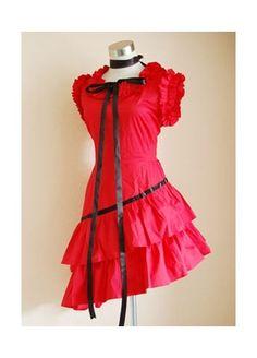 Red Asymmetical Sweet Lolita Dress Lolita clothes