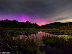 Northern Lights over Perkins pond in Jaffrey,  NH.