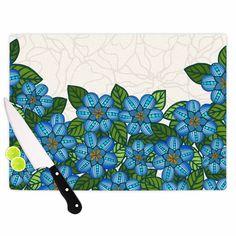 """Art Love Passion """"Blue Flower Field"""" Beige Blue Cutting Board"""