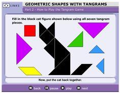 3 Teacher Chicks: Terrific Tangrams (link to tangram game) Shapes For Kids, Math For Kids, 3d Shapes, Geometric Shapes, Geometry Games, Geometry Activities, Math Activities, Teaching Math, Teaching Resources
