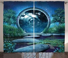 Fantasy Curtains by Ambesonne Fairytale Landscape with Magical Portal and Blue Lake Plants Rock Path Cosmic Sky Living Room Bedroom Window Drapes 2 Panel Set 108W X 84L Inches Blue Green ** ** AMAZON BEST BUY ** #Curtains