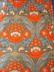 VINTAGE HEALS 'ARBOUR' DAVID BARTLE FABRIC CURTAINS 70s IN ART NOUVEAU STYLE