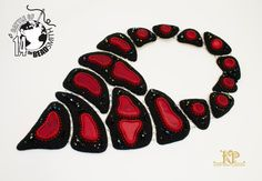 The flame of Hell | Bead embroidery statement necklace | B.O.T.B'14 battlepiece | OOAK necklace | Dichroic glass | Classic red and black