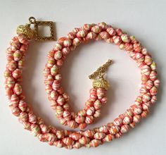 Paper Bead Crochet Necklace in Pink and Coral by PaperRoseJewelry, $40.00