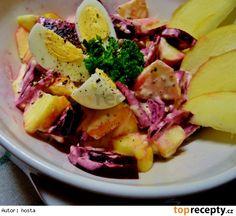 Salát z červené řepy a jablka s křenovohořčičnou zálivkou Potato Salad, Cabbage, Potatoes, Vegetables, Ethnic Recipes, Food, Potato, Essen, Cabbages