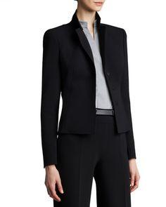 Akris Short Evening Jacket, Zip-Front Double-Face Dress & Leather Belt - Neiman Marcus