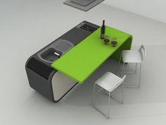 Mesa Abatible, elegante y sólida, que ocupa poco espacio, para una cocina que combina el blanco de la pared y el gris oscuro del suelo con ...