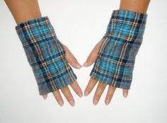 Men's Fingerless Gloves in Blue and Grey Plaid by TheLuxuryLine, $7.00
