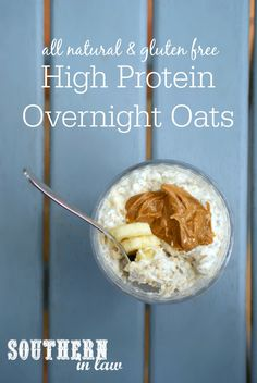 Healthy High Protein Overnight Oats Recipe - low fat, gluten free, lower carb, h. High Protein Foods List, Best Protein, High Protein Low Carb, High Protein Recipes, Healthy Protein, Protein Snacks, Healthy Food, Healthy Meals, Healthy Recipes