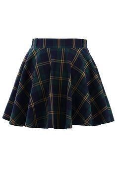 http://www.chicwish.com/green-plaid-check-skater-skirt.html