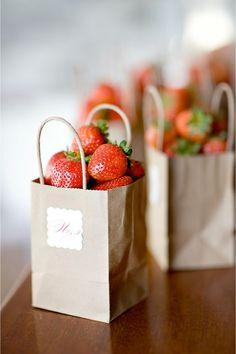{Strawberry wedding favours.}