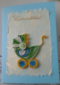 Card for a baby boy by quilling