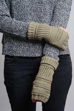 Mocha Ribbed Knit Arm Warmers