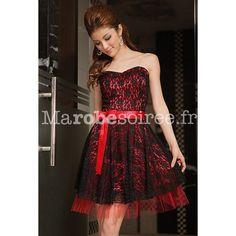 aa858784d02e Robes · Baby doll robe de soirée en dentelle à fleur bustier et noeud Robe  Rouge Et Noire