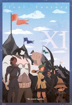 """Final Fantasy XI Vintage Poster. """"We stand together."""""""