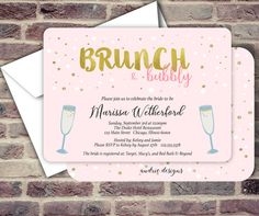 Brunch and Bubbly - Bridal Shower Invitations for the blush and gold lovers! High Quality Professionally Printed Card stock + White Envelopes included.   How it works!! ⋄ Add the item to your checkout cart. ⋄ Fill in information below into notes to seller box (copy and paste for ease) ⋄ Send us your high resolution photo (JPG) to be used as the invitation background via email to: info@ audriedesigns.com ⋄ Once order has been placed our studio will begin working on your proof (1-2 business…