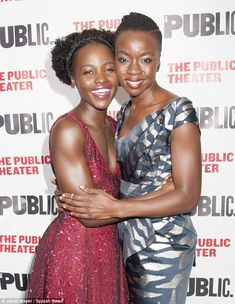 Radiant: Actor Lupita Nyong'o and writer Danai Gurira celebrated at the opening night of their African drama Eclipsed at The Public Theater in New York on Wednesday
