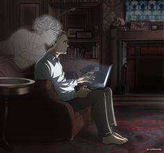 Sherlock BBC: Sherlock Holmes x John Watson. John can't sleep at night and sitting with his notebook in the living room. Suddenly he fells like somethin. Sherlock BBC - The ghost Sherlock Anime, Sherlock Fandom, Watson Sherlock, Sherlock Quotes, Sherlock John, Sherlock Cartoon, Sherlock Holmes Benedict, Jim Moriarty, Benedict Cumberbatch