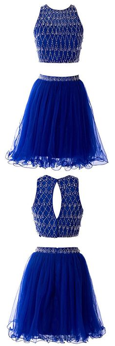 Prettiest Royal Blue Two Piece Prom Dresses,A-line Short Cocktail Dress, Scoop Neck Short Homecoming Dresses, Tulle Short/Mini Formal Party Gowns,Beading Evening Cocktail Dress