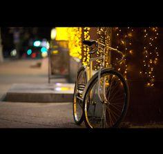 Bike + night + city
