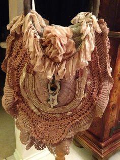 Handmade Handbag Lagenlook W/ Vintage  Magnolia Rose & Beige Laces & Crochet #Handmade #Hobo
