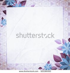 Vintage vignette with blank paper and floral corners violet. Retro background with abstract pattern. The basis for design or text.