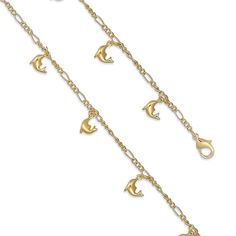 """Good Luck Dangling Dolphin 7.5"""" Figaro Link Chain Bracelet 14k yellow gold over Brass Fancy Ladies Charm Gift"""