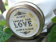 Vintage Spread the Love Custom Canning jar labels, personalized round stickers for wedding favors, jam and jelly, 3 sizes available