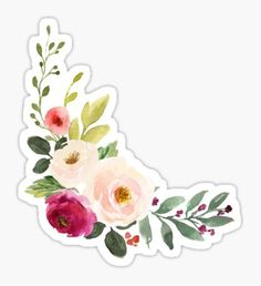 """""""Watercolor Burgundy Pink Flower Bouquet"""" Stickers by junkydotcom Homemade Stickers, Diy Stickers, Printable Stickers, Journal Stickers, Scrapbook Stickers, Planner Stickers, Ipad Art, Pink Flower Bouquet, Cute Laptop Stickers"""
