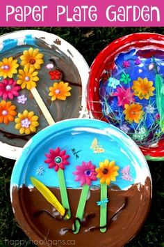 "Kids can make a paper plate Garden to celebrate spring or for a flower unit or as a Letter ""G"" Craft. Such a great creative process for preschoolers!"