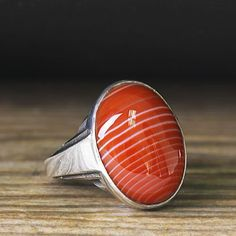 Sterling Silver Mens Ring Natural Red Agate 925 Silver Ring 9.5 US size