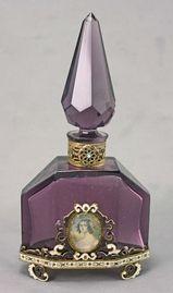 Austrian Art Deco Enameled Perfume Bottle w/ Portrait. @Deidré Wallace