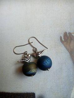 Bird egg druzy earrings, modernist jewelry, birds nest, robins egg, nature lovers gift, handmade gift for her, unique christmas, Handmade Gifts For Her, Gifts For Nature Lovers, Modern Jewelry, Dublin, Nest, Birds, Queen, Drop Earrings, Sterling Silver