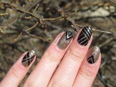 Nails & Threads: Black and Gold Great Gatsby Inspired Prom Nail Art