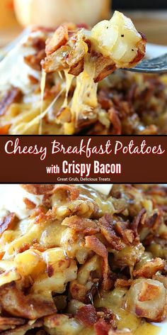 Cheesy Breakfast Potatoes with Crispy Bacon are perfect to add to the breakfast menu. They are loaded with cheese and crispy bacon then topped wth a dollop of sour cream. #breakfast #cheese #potatoes #bacon #greatgrubdelicioustreats