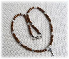 Men's Necklace - wood and metal beads with palm pendant £16.95