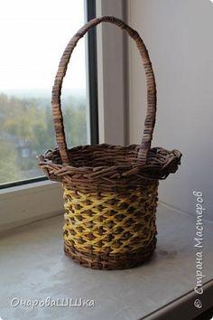 Поделка изделие Плетение Вторая корзинка из бумажных трубочек с новым узором Трубочки бумажные фото 1